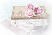 With Love Prints - Shabby Chic Cottage Chic Dreamy Pastel Pink Cottage Roses With Romantic Love Pink Books Print by Kathy Fornal