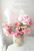 Romantic Art Posters - Shabby Chic Dreamy Pink Peach Impressionistic Romantic Cottage Chic Paris Floral Art Photography Poster by Kathy Fornal