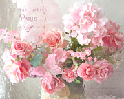 Romantic Art Posters - Shabby Chic Dreamy Pink Peach Impressionistic Romantic Cottage Chic Paris Flower Photography Poster by Kathy Fornal