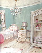 Guest Painting Prints - Shabby Chic Guest Room Print by Gail McCormack