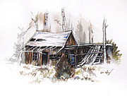 Mountains Drawings - Shack by Aaron Spong