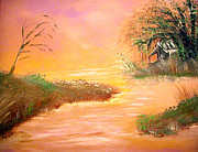 New Orleans Paintings - Shack In The Bayou At Dawn by Alys Caviness-Gober