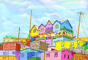 Gerry Robins Metal Prints - Shacks On The Hill Metal Print by Gerry Robins