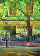 Street Lamps Digital Art Prints - Shaded Cafe Print by Jeff Kolker
