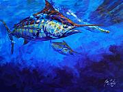 Marlin Painting Framed Prints - Shades of Blue Framed Print by Mike Savlen