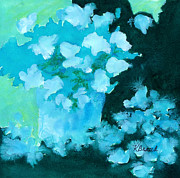 Light And Dark   Painting Prints - Shades of Green and Light Print by Kathy Braud