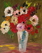 Vase Of Flowers Posters - Shades Of Red Poster by Anna Sandhu Ray
