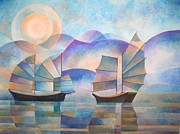 Junk Painting Posters - Shades of Tranquility Poster by Tracey Harrington-Simpson