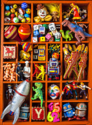 T-rex Prints - Shadow box full of toys Print by Garry Gay