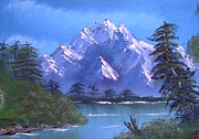 Great Western Painting Originals - Shadowed Mountain Lake by Marianne NANA Betts
