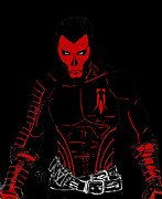 Superheros Drawings - Shadowman Red by Justin Moore