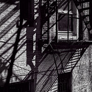 Fire Escape Metal Prints - Shadows Metal Print by Bob Orsillo