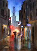 Rainy Street Painting Framed Prints - Shadows In The Rain  Framed Print by Mohamed Hirji
