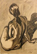 Sepia Ink Drawings - Shadows On the Sand2 - Nudes Gallery by Carmen Tyrrell