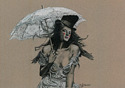 Umbrella Drawings Framed Prints - Shady Lady Framed Print by TP Dunn