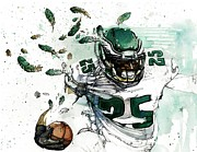 Running Back Painting Framed Prints - Shady McCoy Framed Print by Michael  Pattison