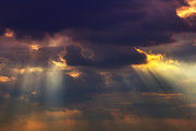 Cloudy Sky Photos - Shafts of sunlight by Garry Gay