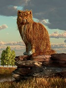 Cat Art Digital Art - Shaggy Cat by Daniel Eskridge