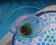 Glass Greeting Cards Prints Prints - Shaken with 2 Olives Print by Valerie Greene