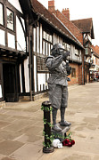 White Frame House Prints - Shakespeare Outside Stratford Upon Avon Library Print by Terri  Waters