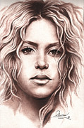 Latina Drawings Framed Prints - Shakira Framed Print by Bill Olivas