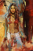 Beautiful Woman Painting Posters - Shakira  Poster by Corporate Art Task Force