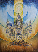 Original Artwork Framed Prints - Shakti - Tripura Sundari Framed Print by Vrindavan Das