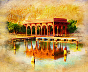 University Buildings Drawings Prints - Shalimar Gardens Print by Catf