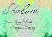 Burst Painting Posters - Shalom - Peace Rest Health Prosperity Blessing Poster by Christopher Gaston