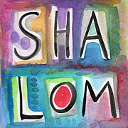 Jewish Mixed Media Framed Prints - Shalom - square Framed Print by Linda Woods