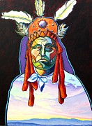 Portrait With Mountain Prints - Shamans Power Print by Joe  Triano