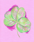Green Day Pastels Posters - Shamrock Pink Poster by MM Anderson
