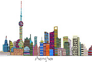Capital Cities Mixed Media Framed Prints - Shanghai city Framed Print by Brian Buckley