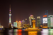 Shanghai Posters - Shanghai night city skyline Poster by Fototrav Print