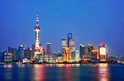 Travel China Posters - Shanghai Pudong cityscape at night Poster by Fototrav Print