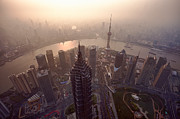 Travel China Posters - Shanghai Pudong skyline China Poster by Fototrav Print