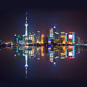 Highrise Framed Prints - Shanghai reflections Framed Print by Delphimages Photo Creations