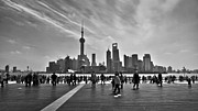 Chinese People Prints - Shanghai skyline black and white Print by Delphimages Photo Creations