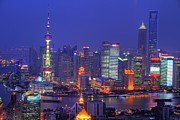 Chinese Photo Prints - Shanghais Skyline Print by Lars Ruecker