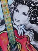 Musician Greeting Cards Paintings - Shania Twain by Chrisann Ellis