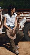 Cowgirl Paintings - Shanti Waiting by Jack Atkins
