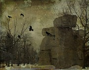 Gothic Digital Art Posters - Shapes Poster by Gothicolors With Crows