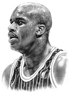 Basketball Sports Drawings Prints - Shaq ONeal Print by Harry West