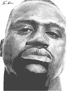Basketball Sports Drawings Prints - Shaq Print by Tamir Barkan