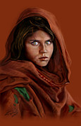 Red Robe Painting Posters - Sharbat Gula Poster by Reggie Duffie
