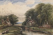 Peaceful Drawings Prints - Shardlow Lock with the Lock keepers Cottage Print by James Orrock