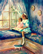 Window Art On Canvas Posters - Sharing a Story Poster by Sharon Abbott-Durdel