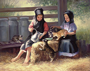 Amish Painting Framed Prints - Sharing with a Friend Framed Print by Laurie Hein