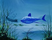 Sharks Paintings - Shark And Sunken Treasure Ship by Tom Hoy