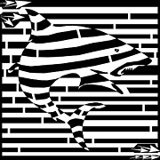 Shark Drawings - Shark Attack Maze by Yonatan Frimer Maze Artist